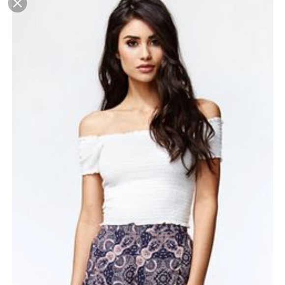 728f8fad094b98 PacSun Tops | White Kendall Kylie Crop Top Off Shoulder | Poshmark